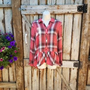 Kensie m Red Black Plaid Button Front Shirt Ruffle